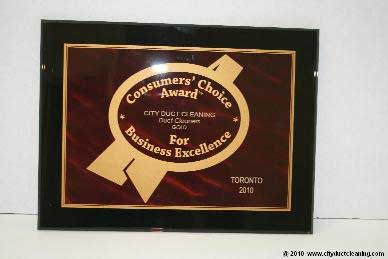 Toronto Duct Cleaner Award