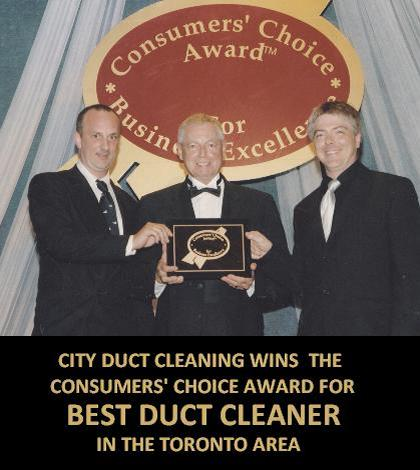 City Duct Cleaning owners receiving the 2005 Consumers Choice Award